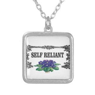 caixa auto-confiantes colar banhado a prata