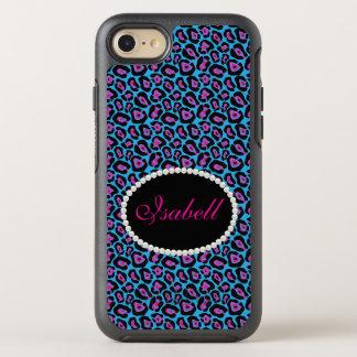 Caixa azul & cor-de-rosa chique do monograma do capa para iPhone 7 OtterBox symmetry