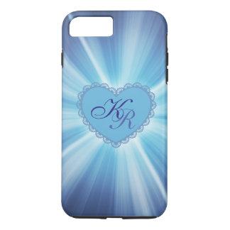 Caixa azul do coração do monograma capa iPhone 8 plus/7 plus