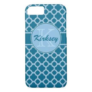 Caixa azul do iPhone 7 do monograma de Quatrefoil Capa iPhone 7