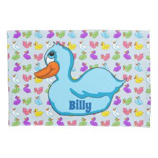 Caixa azul do travesseiro do pato