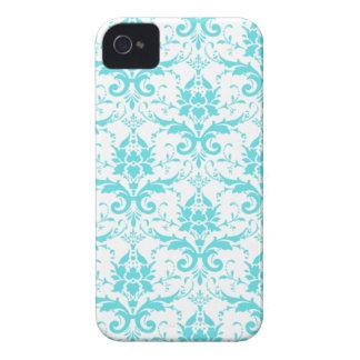 Caixa azul e branca do iPhone 4/4S do damasco Capas Para iPhone 4 Case-Mate