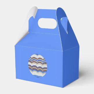 Caixa azul redonda do favor do frontão do mosaico