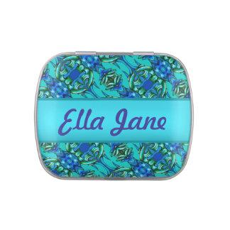 Caixa azul verde dos doces do teste padrão da cerc latinhas personalizadas