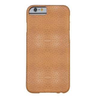 Caixa bege da pele da avestruz do falso capa barely there para iPhone 6