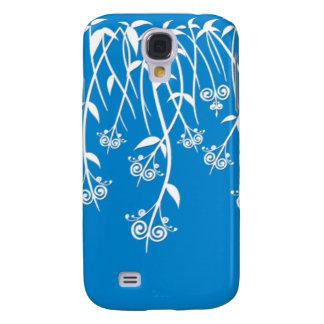 Caixa bonita do azul-céu e os brancos e cobrir flo capa samsung galaxy s4