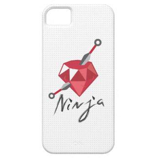 Caixa branca do iPhone 5 de Ninja do rubi do geek Capa Barely There Para iPhone 5