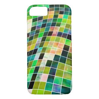 Caixa checkered verde abstrata capa iPhone 7