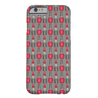 Caixa cinzenta vermelha da composição da beleza do capa barely there para iPhone 6