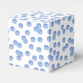 Caixa clássica do favor das bolinhas azuis