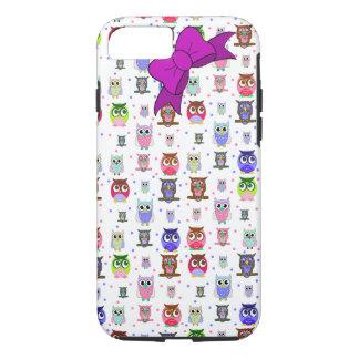 Caixa colorida do iPhone 7 da coruja dos desenhos Capa iPhone 7
