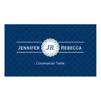 Caixa comercial - azul moderno do monograma cartão de visita