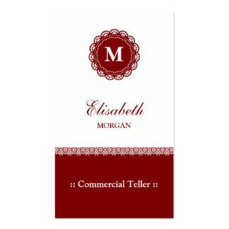Caixa comercial - monograma vermelho elegante do cartão de visita
