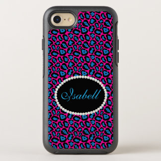 Caixa cor-de-rosa & azul chique do monograma do capa para iPhone 7 OtterBox symmetry