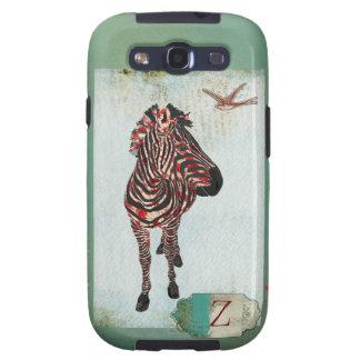 Caixa cor-de-rosa do Grunge do monograma da zebra Capinha Samsung Galaxy S3