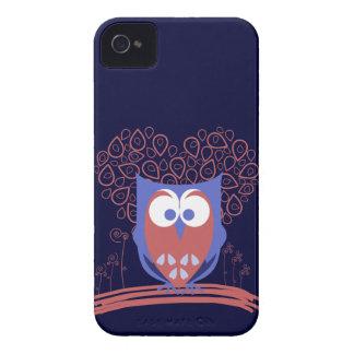 Caixa corajosa de Blackberry da coruja lunática Capas Para iPhone 4 Case-Mate