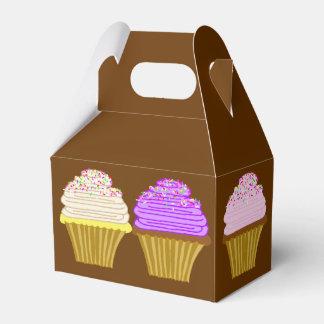 Caixa da arte do cupcake de Brown com punho