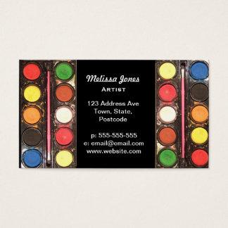 Caixa de cor colorida da pintura do artista cartão de visitas