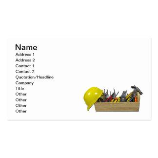 Caixa de ferramentas de madeira longa do capacete cartão de visita