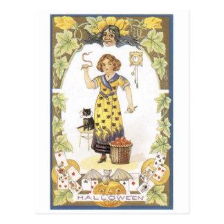 Caixa de fortuna antiquado do Dia das Bruxas Cartão Postal