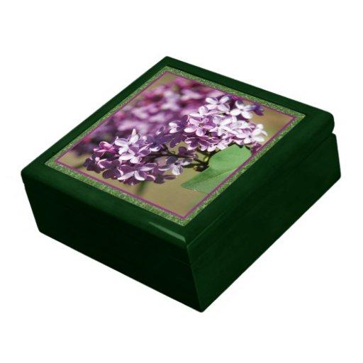 Caixa de jóia feita sob encomenda verde dos Lilacs Porta Jóias