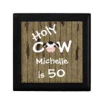 Caixa de jóia personalizada do aniversário da vaca estojo para jóias