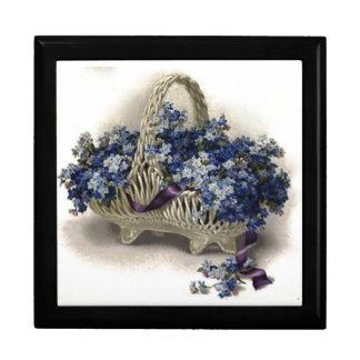 Caixa de presente do miosótis da cesta da flor do