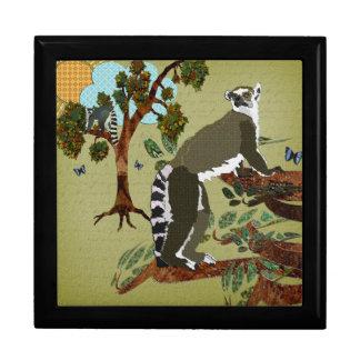 Caixa de presente verde-oliva da manhã dos Lemurs