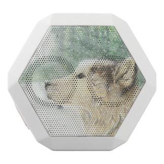 Caixa De Som Branca Com Bluetooth Auto-falante fascinado do lobo