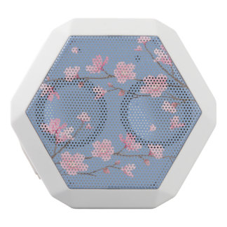 Caixa De Som Branca Com Bluetooth Flor de cerejeira - azul da serenidade