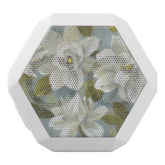 Caixa De Som Branca Com Bluetooth Gardenias no azul da ardósia