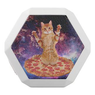 Caixa De Som Branca Com Bluetooth gato da pizza - gato alaranjado - espace o gato