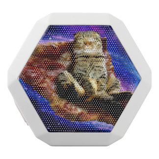 Caixa De Som Branca Com Bluetooth gato da pizza - gato louco - gatos no espaço