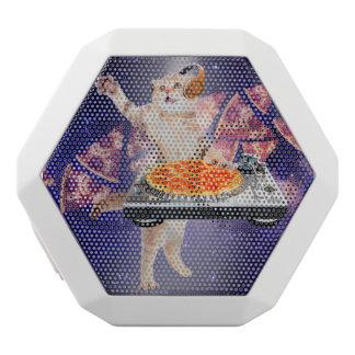 Caixa De Som Branca Com Bluetooth gato do DJ - gato DJ - gato do espaço - pizza do