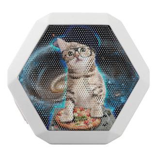 Caixa De Som Branca Com Bluetooth gato do DJ - gato do espaço - pizza do gato -