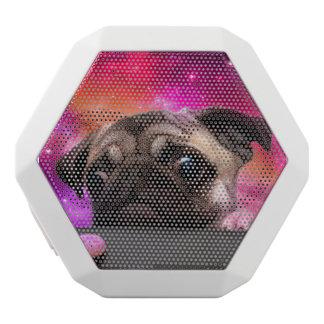 Caixa De Som Branca Com Bluetooth pug do espaço - comida do pug - biscoito do pug
