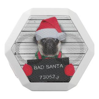Caixa De Som Branca Com Bluetooth Pug do Natal - cão do mugshot - pug do papai noel