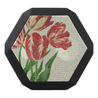 Caixa De Som Preta Com Bluetooth Caligrafia vermelha das tulipas