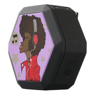 Caixa De Som Preta Com Bluetooth REX de Boombot, preto com cabeça e fones de ouvido