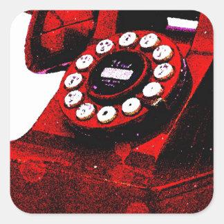 Caixa de telefone velha da mesa do pop art adesivo quadrado