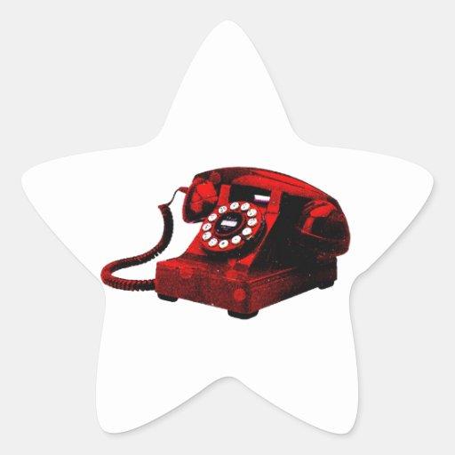 Caixa de telefone velha da mesa do pop art adesivo em forma de estrela