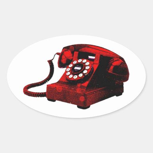 Caixa de telefone velha da mesa do pop art adesivos ovais