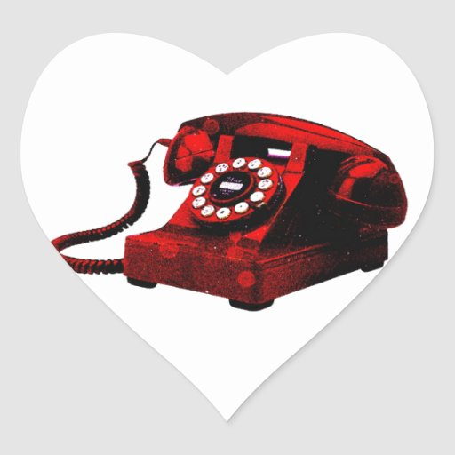 Caixa de telefone velha da mesa do pop art adesivo em forma de coração