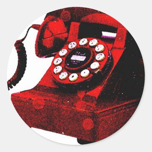 Caixa de telefone velha da mesa do pop art adesivos redondos
