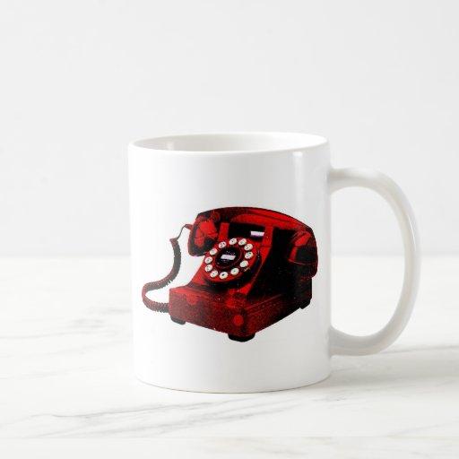 Caixa de telefone velha da mesa do pop art caneca