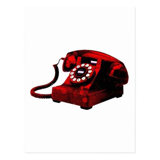 Caixa de telefone velha da mesa do pop art cartoes postais