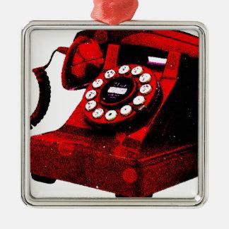 Caixa de telefone velha da mesa do pop art ornamento quadrado cor prata