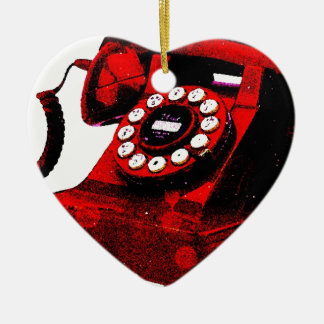 Caixa de telefone velha da mesa do pop art ornamento de cerâmica coração