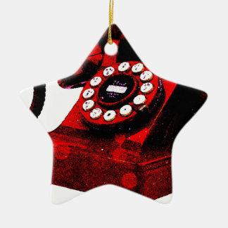 Caixa de telefone velha da mesa do pop art ornamento de cerâmica estrela