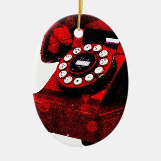 Caixa de telefone velha da mesa do pop art ornamento de cerâmica oval